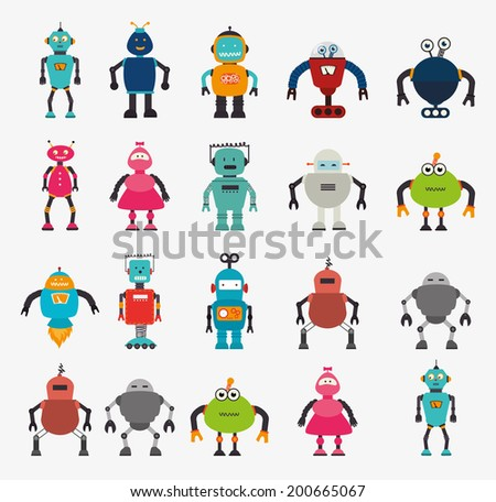 Cute Robot Designs Robot Design Over White