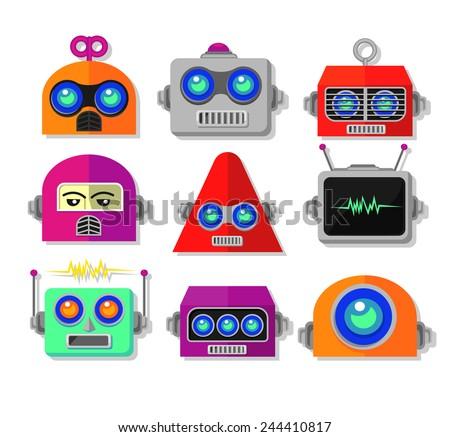 robot face vector set - stock vector