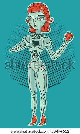 robot girl with heart - stock vector