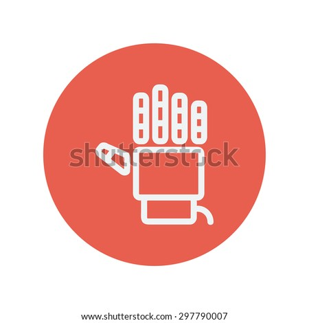 Robot hand thin line icon for web and mobile minimalistic flat design. Vector white icon inside the red circle. - stock vector
