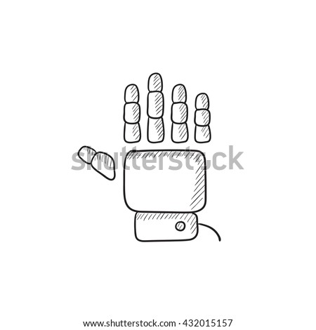Robot hand vector sketch icon isolated on background. Hand drawn Robot hand icon. Robot hand sketch icon for infographic, website or app. - stock vector