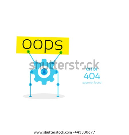 robot holding a sign oops, Page not found Error 404, text on banner, vector - stock vector