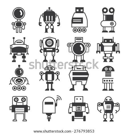 robot icons, cartoon robots - stock vector