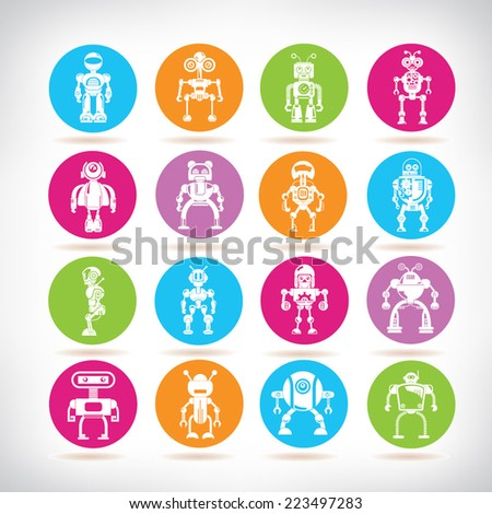 robot icons, colorful circle buttons set - stock vector