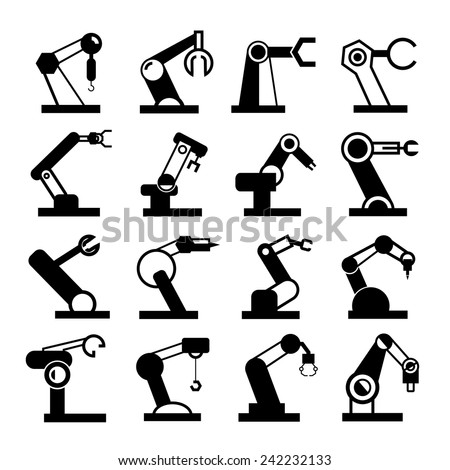 robot icons set, robotic arm in for industry work - stock vector
