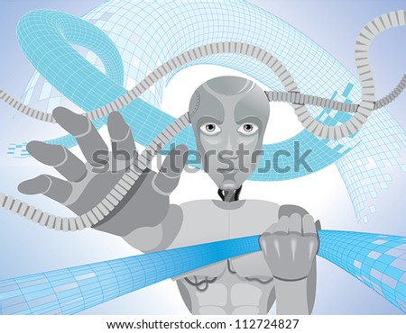 Robot in the abstract - stock vector
