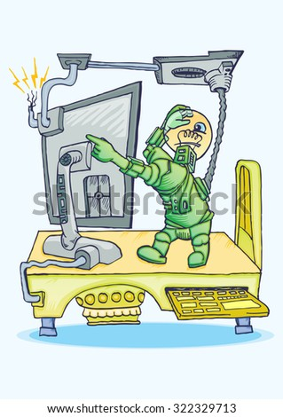 Robot on the table with set of computer vector hand draw illustration - stock vector