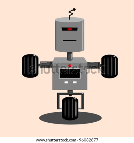 robot on wheels vector illustration - stock vector
