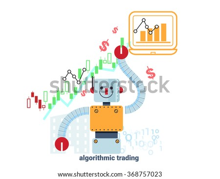 robot  standing confidently in front of rising stock market chart represent up trend of algorithmic trading - stock vector