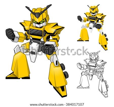 Robot Truck Cartoon Character Include Flat Design and Line Art Version Vector Illustration - stock vector