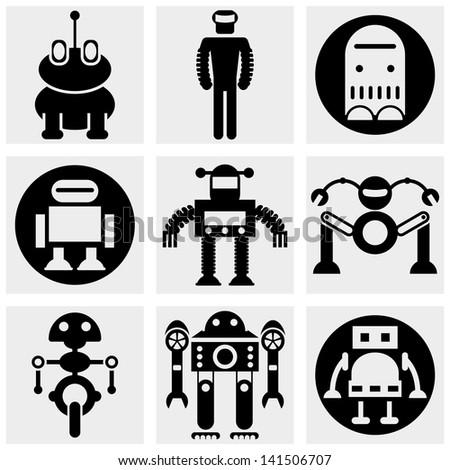 Robot vector icon set on gray - stock vector