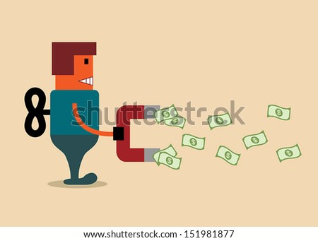 Robot with money magnet, business concept - stock vector