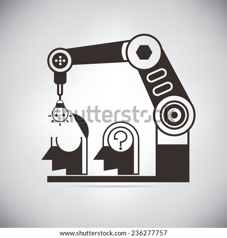 robotic arm putting idea bulb into the head, idea machine - stock vector