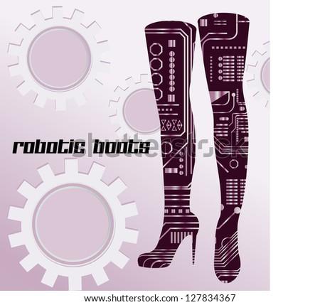 Robotic boots - stock vector