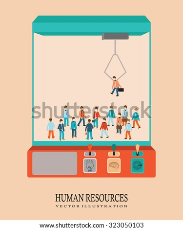 Robotic Claw  with business people, Human resources, vector illustration. - stock vector