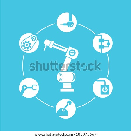 robotic diagram, automation - stock vector
