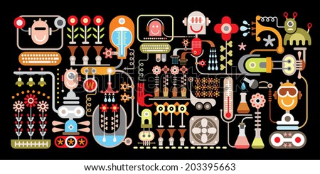 Robotic Flower Factory - isolated vector illustration on black background. Greenhouse. - stock vector