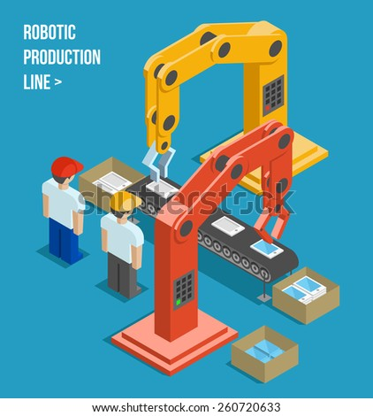 Robotic production line. Manufacturing and machine, automation and robotic and industry. Vector illustration - stock vector