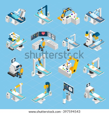 Robotic surgery isometric icons set with  surgeons patients and medical robots with widescreen touch screen and touch control isolated vector illustration - stock vector