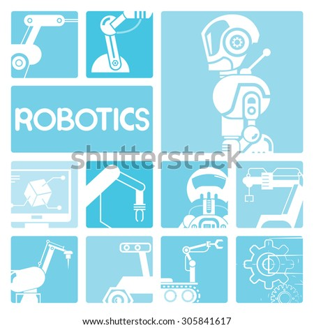 robotics icons - stock vector