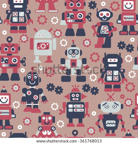 Robots color seamless pattern. Texture with funny toy for baby. - stock vector