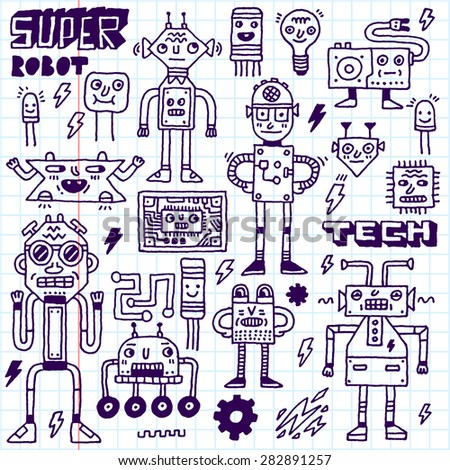 Robots,Electrical, Circuits, Microschemes.Cool and cute funny vector set 2. Hand drawn illustration. School notebook. - stock vector