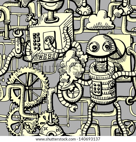 robots seamless pattern - stock vector