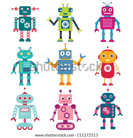 Robots vector set - stock vector