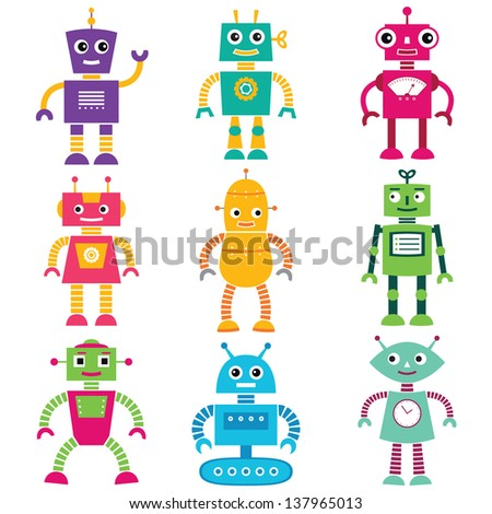 Robots vector set - stock vector