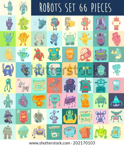 Robots vector set, robot toy vector Illustration, hand drawing - stock vector