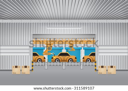 Robots working with auto parts in factory. - stock vector