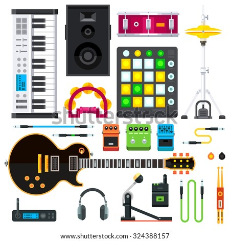 Rock and pop music instruments: guitar, cables, keyboard, synthesizer, hihats, drum pedal, guitar strap, speakers, headphones, guitar pedals, drum, tambourine. Flat vector isolated illustration set. - stock vector