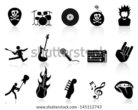 rock and roll music icons - stock vector