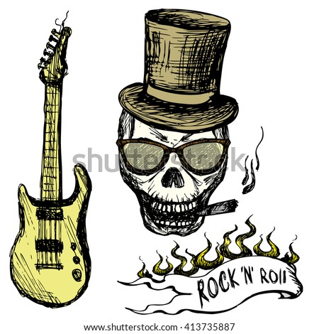 Rock and roll skull in hat and glasses ,guitar . Hand drawing. Vector illustration - stock vector
