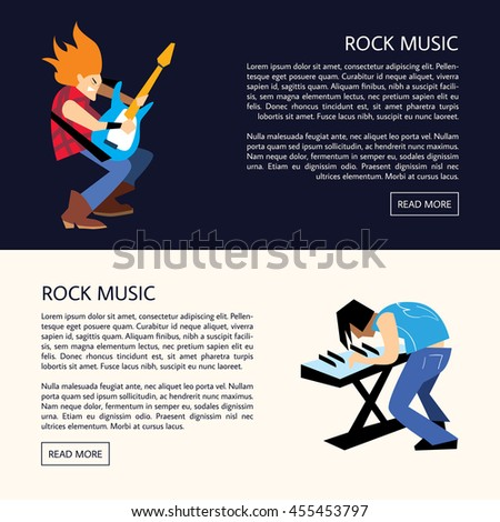 Rock band music group with musicians concept of artistic people vector illustration. Lets rock. Rock musician. Rock star man. Concept design of rock and roll music. Illustration of rock star artist - stock vector