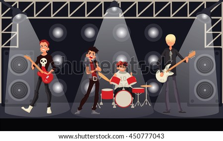 Rock band musicians perform on stage, cartoon vector illustration. Rock star singer guitarist drummer bassist. Band performance, rock concert, music festival - stock vector