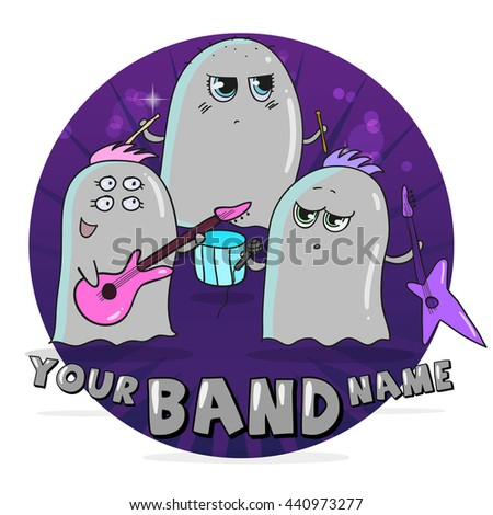 Rock band of cute cartoon aliens - stock vector