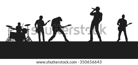 Rock band on stage - stock vector