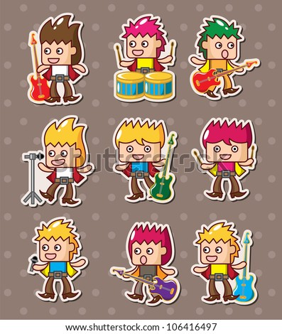 rock band stickers - stock vector