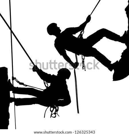 Rock climber, climber. - stock vector