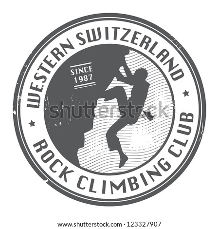 Rock climbing club stamp, vector illustration - stock vector