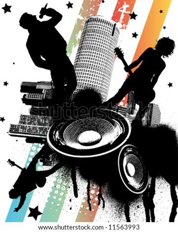 Rock Concert in the City - stock vector