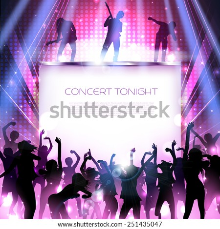 Rock concert stage with dancing silhouettes and band - vector - stock vector