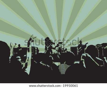 rock concert with crowd vector can be resized and recolored easily. - stock vector