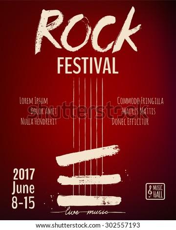 Rock event poster or flyer temlpate. Vector illustration - stock vector