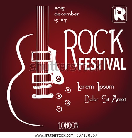 Rock festival design template with guitar and place for text. - stock vector