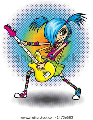 Rock girl with guitar - stock vector