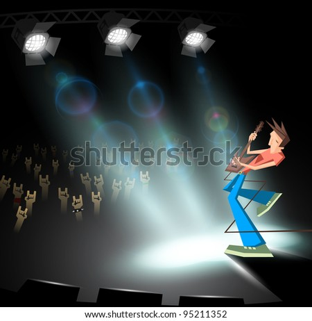 rock guitarist under stage lighting - stock vector