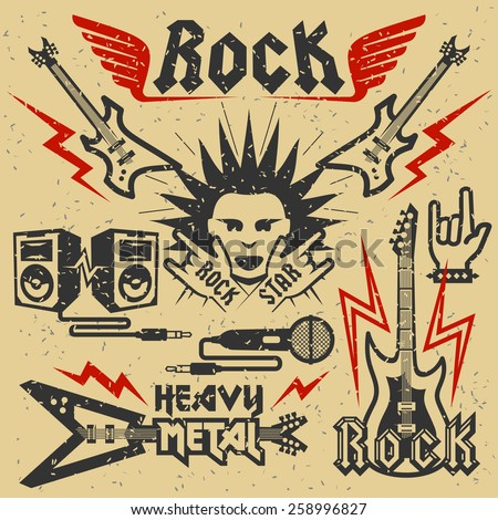 Rock music and heavy metal vector illustration, grunge effect is removable - stock vector
