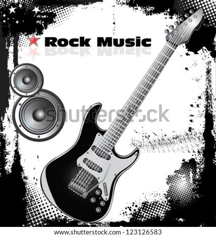 Rock music background - stock vector